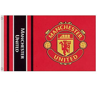 Manchester United FC Wordmark Stripes Flag