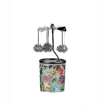 Plaristo Metal & Coloured Glass Carousel Tealight Holder with Tealight - Water Lily
