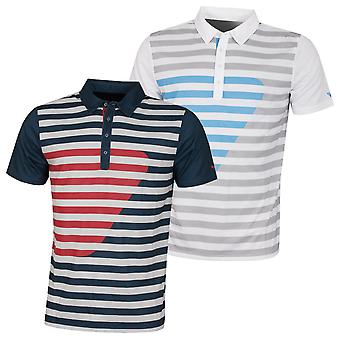 Wolsey Mens Printed Stripe Breathable Technical Golf Polo Shirt
