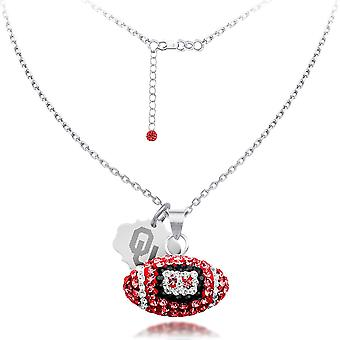 925 Sterling Silver Rhodium Plated Spirit Football Necklace University Of Oklahoma 18 Inch Jewelry Gifts for Women