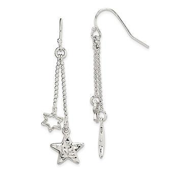 925 Sterling Silver Sparkle Cut Star Dangle Shepherd Hook Boucles d'oreilles Bijoux Bijoux pour les femmes