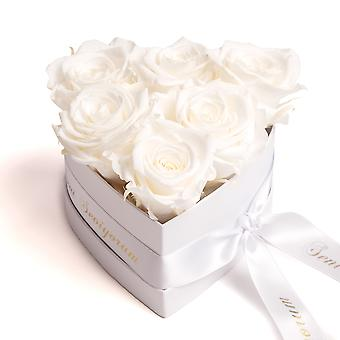 Seni Seviyorum Roses Box in Heart Shape 6 Preserved Eternal Roses in Beige
