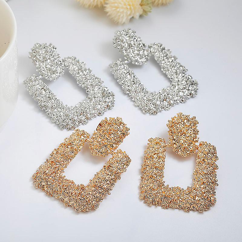 Square Silver Textured Earrings