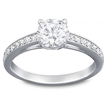Swarovski přilákat kulaté rhodium pokovené & Clear Crystal Ring