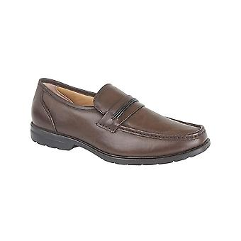 Roamers Brown Leather Apron Slip On Casual Shoe
