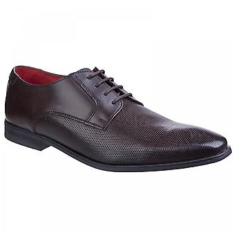 Base London Mens Charles Brown Leather Waxy Lace Up Derby Shoes