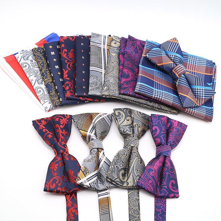 Pink & blue paisley bow tie & matching pocket square