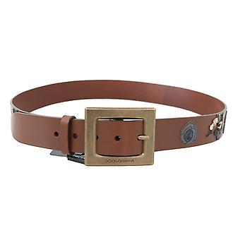 Dolce & Gabbana Brown Leather Sicilian Western Wide Belt