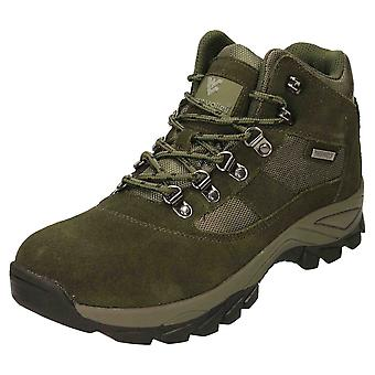 Wyre Valley Waterproof Walking Ankle Boots Suede Leather Green