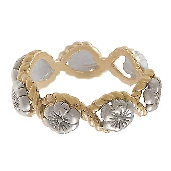 Olivia Burton Watches Obj16fsr07 Floral Charm Rope Ring Silver & Gold