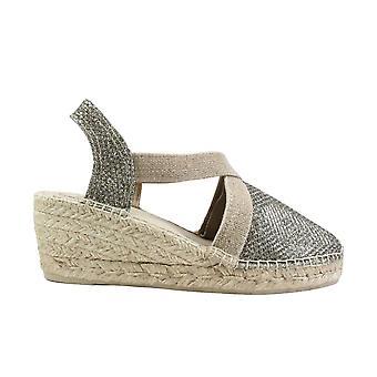 Toni Pons Triton Khaki Glittery Textile Womens Wedge Heel Espadrille Shoes