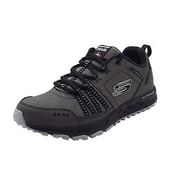 Skechers Escape Plan Men's Memory Foam Trainers In Charcoal/black