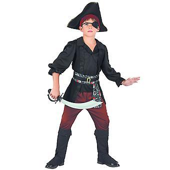 Déguisement pirate noir et rouge garçon