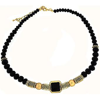 Park Lane Goldtone and Black Beads Necklace 17""