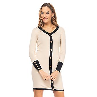 Knitted dress with trim in another color and gold buttons