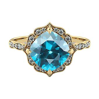 Blue Topaz 3.25 ctw Ring with Diamonds 14K Yellow Gold Flower Leaves Halo