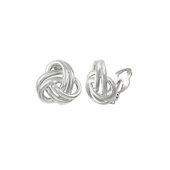 Eternal Collection Entwined Silver Tone Classic Knot Stud Clip On Earrings