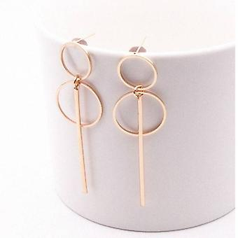 Double Hoop Stick Drop Earrings - Gold