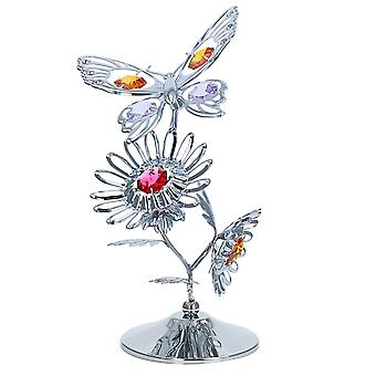 Crystocraft Butterfly On A Flower Crystal Ornament made With Swarovski Crystals  Gift Boxed Purple Red Yellow Crystals Silver Chrome Plated Perfect Keepsake Collectors Gift Figurine Garden Home Decor