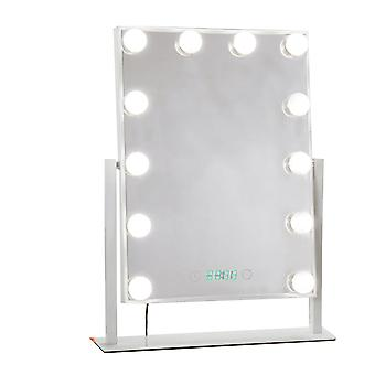 LED tri-color light bulb mirror 360 degree rotated desktop makeup mirror with clock