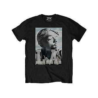 Tupac Kids T Shirt LA Skyline Portrait Logo nouveau officiel Noir Ages 1-12 ans