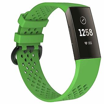 "Replacement Strap Silicone Band Bracelet Wristband for Fitbit Charge 3[Large Fits Wrist 7.1"" - 8.7"",Green]"