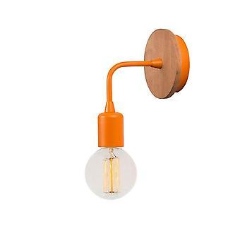 Lampada a Parete Simple Drop Wood Color Arancione, Legno in Metallo, Legno 12x12x13 cm