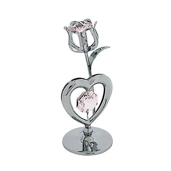 Crystocraft Pink Rose & Heart Ornament Silvertone Made With Swarovski Crystals SP723