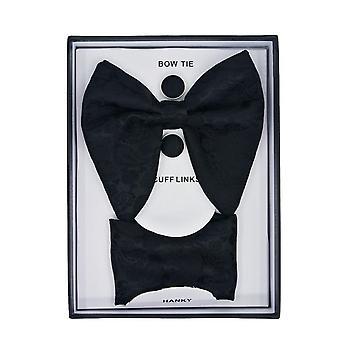 Σετ 3 τεμαχίων με παπιγιόν, μαντήλι και μανικετόκουμπα - Μαύρο
