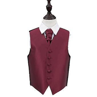 Bourgondische Solid Check Wedding Vest & Cravat Set voor Jongens