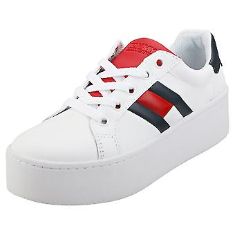 Tommy Jeans Icon Sneaker Womens Platform Trainers in White Navy Red