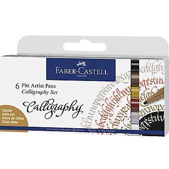 Faber Castell piirustus kynä pitt taiteilija asettaa kalligrafia (6kpl) (FC-167506)