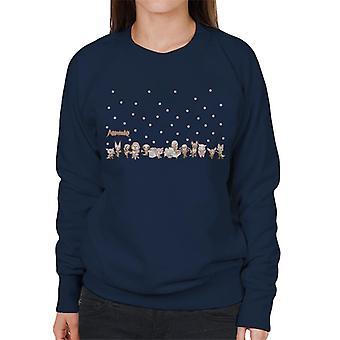 Aggretsuko Pink Polka Dot Characters Side By Side Women's Sweatshirt