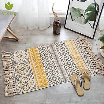 Hand Woven Carpet For Living Room, Bedroom Rug - Geometric Floor Mat For Home