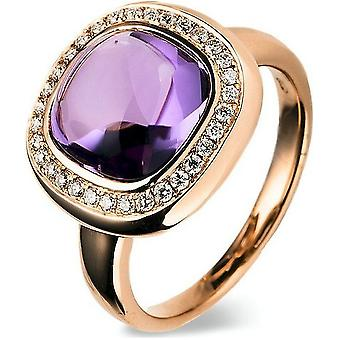 Gemstone ring with brilliant ring 750/red gold - 0.22 ct.