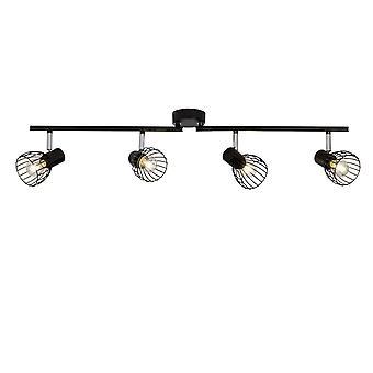 BRILLIANT Lamp Blacky Spot Putki 4flg Musta   4x D45, E14, 40W, soveltuu valolamppuihin (ei sisälly pakkaukseen)   Skaalaa A++