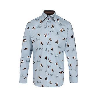 Claudio Lugli Flying Blue Grouse Print Shirt