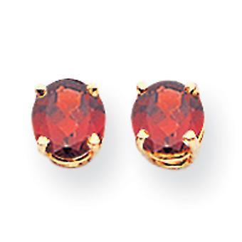14k geelgouden post oorbellen 5mm granaat oorbellen maatregelen 5x5mm brede sieraden geschenken voor vrouwen