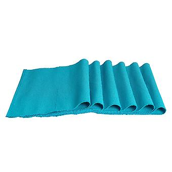 Nicola Spring Ribbed Rectangular Cotton Dining Table Placemats - 480 x 330mm - Blue - Pack of 6