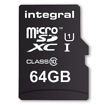 Integral 64 GB MicroSD Card Class 10 with Adapter (Model No. INMSDX64G10)