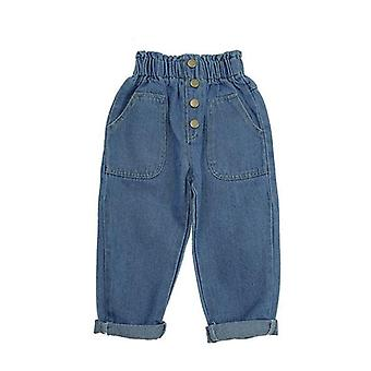Baby Denim Pants, Solid, High Waist With Bottons