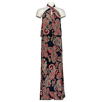 Colleen Lopez Dress Paisley Printed Twist Neck Halter Maxi Blue 701-974