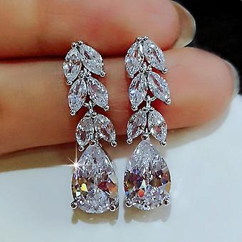 Beautiful earrings in sterling silver waterdrop zircon crystal