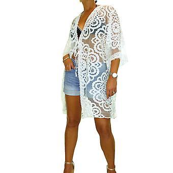 Women's Crochet Lace Beach Kaftan Bikini Cover Up Ladies Summer Kimono Cardigan Cream 8-18 (One Size)