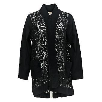 LOGO Par Lori Goldstein Women's Plus Sweater Cardigan Lace Black A284195
