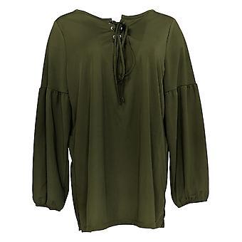 Belle by Kim Gravel Women's Top Matte Jersey Tie-Front Top Green A355042