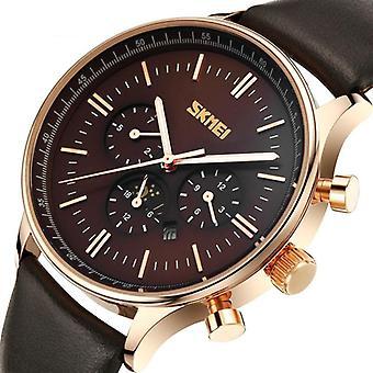 SKMEI 9117 Business Style Waterproof Men Wrist Watch Leather Strap Quartz