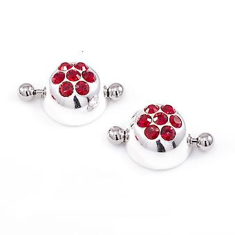 Pair of nipple shield in cap design with cz jewels, barbell nipple ring w/ cap