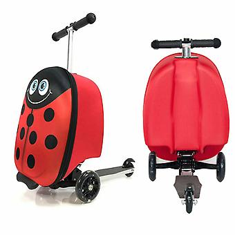 Doodle Luggage Scooter with 3 Wheels Suitcase For Outdoor Traveling, Ladybird