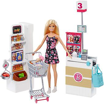 Barbie frp01 supermarché set supermercato, multicolore